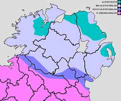 Approximate boundaries of the current and historical English/Scots dialects in Ulster. South to north, the colour bands represent Hiberno-English, South-Ulster English, Mid-Ulster English and the three traditional Ulster Scots areas. The Irish-speaking Gaeltacht is not shown.