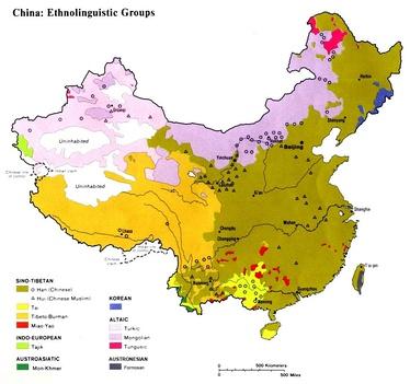 Этнолингвистическая карта Китайской Народной Республики и Республики Китай (Тайваня)