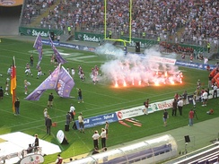 An NFL-style team entrance at a 2007 NFL Europe game