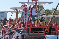 A parade float crewed by pirates in 2013