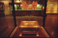 The Vergina Sun, the 16-ray star covering the royal burial larnax of Philip II of Macedon (r. 359–336 BC), discovered in the tomb of Vergina, formerly ancient Aigai