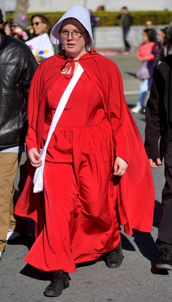 A member of the political action group The Handmaid's Coalition