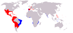 A map of the Spanish (red) and Portuguese Empires (blue) in the period of their personal union (1581–1640). Areas explored & claimed by the Spanish, but unsettled, (e.g. the Amazon basin) are not shown.
