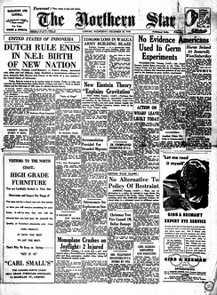 Australia's The Northern Star newspaper regarding the independence of Indonesia date 28 December 1949