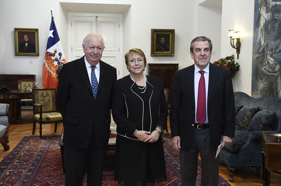 The current living former presidents Michelle Bachelet, Ricardo Lagos and Eduardo Frei Ruiz-Tagle since 2018