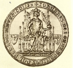 Seal of John of Bohemia. The Latin inscription on the border of the seal reads: .mw-parser-output span.smallcaps{font-variant:small-caps}.mw-parser-output span.smallcaps-smaller{font-size:85%}iohannes dei grat boemie et pol rex lvcembvrg comes