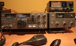 Kenwood TS-430S HF transceiver (left) and Kenwood AT-250 automatic antenna tuner (right)