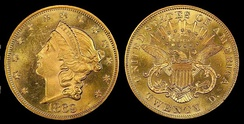 A twenty dollar Liberty Head – Double Eagle gold piece, issued in 1869, commonly used in banking transactions.