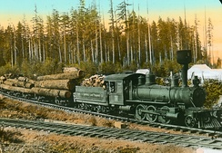 Logging train on Vancouver Island, about 1925