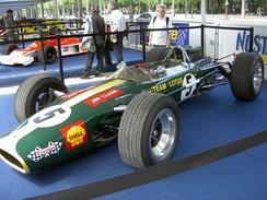 A Lotus 49 presented as it would have appeared in the early part of the 1968 season, just prior to the introduction of Gold Leaf Team Lotus colours