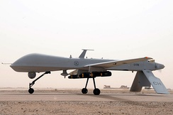An MQ-1B Predator from the 361st Expeditionary Reconnaissance Squadron takes off 9 July 2008 from Ali Base, Iraq.