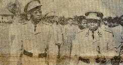 Colonel Mobutu (left) pictured alongside President Kasa-Vubu in 1961