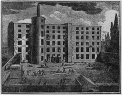 A woodcut illustrating a serious incident at Nathan Gough's spinning mill in Salford, 1824