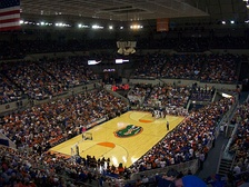 Interior view of the O'Connell Center, configured for basketball.