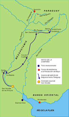 Belgrano's route to Paraguay.