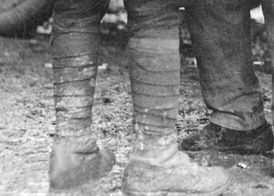 A soldier wearing puttees.