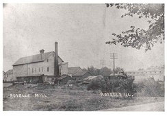 Roselle Flour and Feed Mill in 1895, before it burned down in 1916[4]