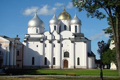 Six-domed Saint Sophia Cathedral in Novgorod built on place of the original 13-domed wooden church, 11th century.