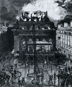 Fire at the second Salle Favart on 25 May 1887 (engraving).