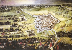 Groenlo relieved by Spinola, November 1606. Maurice's army (right) sounds the retreat.