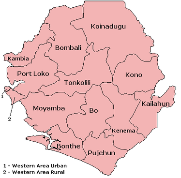 The 12 districts and 2 areas of Sierra Leone