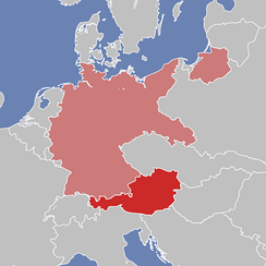 The territory of the German Reich and Austria after World War I. (Note that Saarland was detached from Germany from 1920–1935 and is depicted as such here)