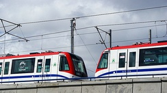 A pair of 9000 series are tested on the Santo Domingo Metro.