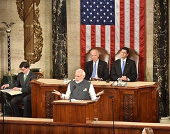 Biden and Speaker of the House Paul Ryan look on as Indian Prime Minister Narendra Modi addresses a joint meeting of Congress on June 8, 2016