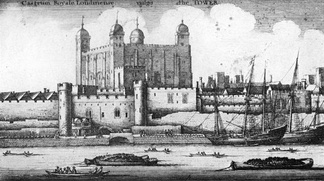 1847 drawing of the Tower of London on the River Thames
