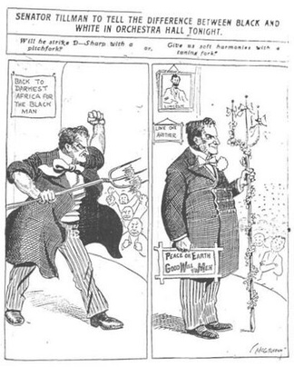 "Chicago Tribune cartoon, published November 27, 1906, just before Tillman gave a speech there, wondering whether Tillman will act the part of ""Pitchfork Ben"" or a dignified senator"
