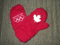 The red Olympic mittens first sold for the 2010 Vancouver Olympics.