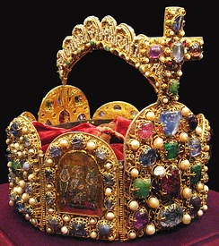 The crown of the Holy Roman Empire (2nd half of the 10th century), now held in the Schatzkammer (Vienna)
