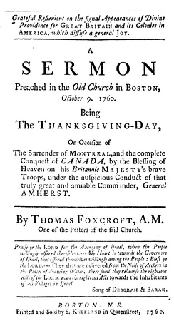 Grateful Reflexions on the Signal Appearances of Divine Providence for Great Britain and its Colonies in America. 1760