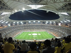 A panorama overview of the King Abdullah Sports City on 12 September 2014 in a Saudi Professional League match between Al-Ittihad and Al-Orobah