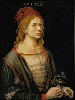 The earliest painted Self-Portrait (1493) by Albrecht Dürer, oil, originally on vellum (Louvre, Paris)