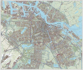 Topographic map of Amsterdam and its surrounding municipalities, 2014