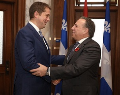 Andrew Scheer with Legault in 2018
