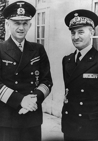 Dönitz and his Italian counterpart Admiral Angelo Parona in 1941