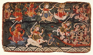 A painting made in Nepal depicting the Goddess Ambika Leading the Eight Matrikas in Battle Against the Demon Raktabija, Folio from a Devi Mahatmya. Chamunda or Kali (bottom right corner) drinking the blood of demons arising from Raktabiīa's blood.