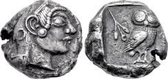 Athens coin (c. 500/490–485 BC) discovered in Pushkalavati. This coin is the earliest known example of its type to be found so far east.[29] Such coins were circulating in the area as currency, at least as far as the Indus, during the reign of the Achaemenids.[30][31][32][33]