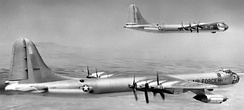 Convair B-36F-5-CF (III) Peacemakers of the 6th Bomb Wing. B-36F AF Ser. No. 49-2683 is in foreground. Each aircraft had a crew of 15 men, sixteen 20mm cannons in eight turrets, and carried a 43,500 lb. MK-17 Thermonuclear Weapon during EWO (Emergency War Order) operations.