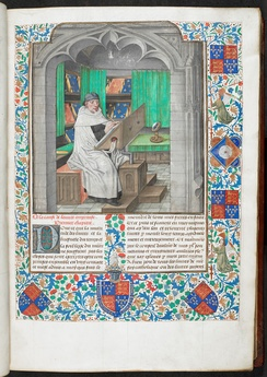 Miniature of Vincent of Beauvais writing in a manuscript of the Speculum Historiale in French, Bruges, c. 1478–1480, British Library Royal 14 E. i, vol. 1, f. 3, probably representing the library of the Dukes of Burgundy.
