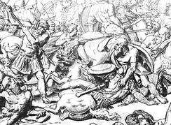 Battle of Potidaea (432 BC): Athenians against Corinthians (detail). Scene of Socrates (center) saving Alcibiades. 18th century engraving.