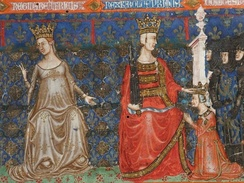 A crowned woman and man, each sitting on a throne