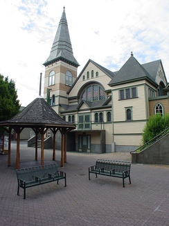 The Belfry Theatre is a theatre company founded in 1974, and located in the neighbourhood of Fernwood.