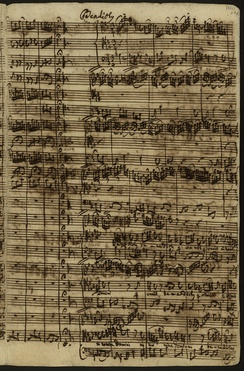 Autograph score of the Benedictus, aria for tenor and obbligato flute