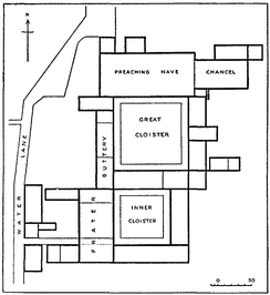 Ground plan of Blackfriars Monastery as they appeared before the dissolution. The Buttery became Farrant's; the Frater, Burbage's playhouse.