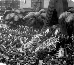State memorial ceremony with Rathenau's laid out coffin in the Reichstag, 27 June 1922.