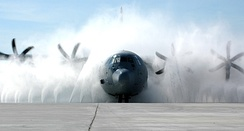 A C-130J cleaned in the wash system at Keesler Air Force Base, Mississippi.