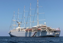 Club Med 2 is a 5-masted cruise ship owned by Club Med. The sails are automatically deployed by computer control. Club Med 2 was launched in 1992 in Le Havre, France. The ship, carrying up to 400 passengers with a crew of 200, cruises the Mediterranean, Caribbean and Atlantic.